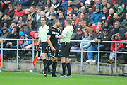 Gaetano Berardi (28) of Leeds United is shown a red card, sent off during the EFL Sky Bet Championship match between Bristol City and Leeds United at Ashton Gate, Bristol, England on 21 October 2017. Photo by Graham Hunt.