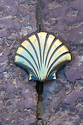 Pilgrim emblem shell of St James on Pilgrim Route, Camino de Santiago de Compostela in Leon, Castilla y Leon, Spain