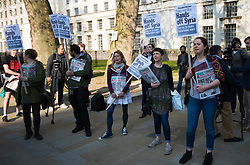London, April 7th 2017. Anti war protesters demonstrate in London outside Downing Street following the US missile strikes against a Syrian air base in the wake of a suspected chemical attack. . Credit: Paul Davey