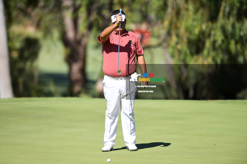 PERTH, AUSTRALIA - FEBRUARY 14: Prom Meesawat (THA) on the 18th green during the 1st round of the ISPS Handa World Super 6, Lake Karrinyup Country Club, Perth, Western Australia, on February 14, 2019. <br /> .<br /> .<br /> .<br /> (Photo by: Naratip Golf Srisupab/SEALs Sports Images)<br /> .<br /> Any image use must include a mandatory credit line adjacent to the content which should read: Naratip Golf Srisupab/SEALs Sports Images