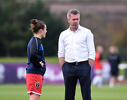 Bristol Academy manager Willie Kirk talks to Hayley Ladd - Mandatory by-line: Paul Knight/JMP - Mobile: 07966 386802 - 04/10/2015 -  FOOTBALL - Stoke Gifford Stadium - Bristol, England -  Bristol Academy Women v Liverpool Ladies FC - FA Women's Super League