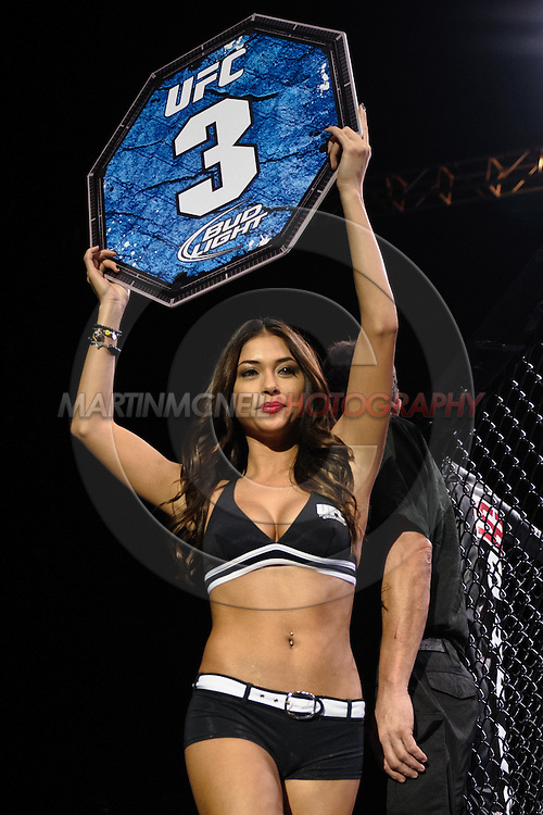 "BIRMINGHAM, ENGLAND, NOVEMBER 5, 2012: Arianny Celeste walks around the cage apron during ""UFC 138: Munoz vs. Leben"" inside the National Indoor Arena in Birmingham, United Kingdom"