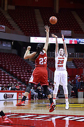 01 January 2017: Hannah Green & Leti Lerma during an NCAA Missouri Valley Conference Women's Basketball game between Illinois State University Redbirds the Braves of Bradley at Redbird Arena in Normal Illinois.