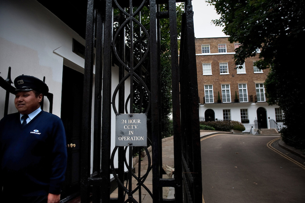 A former Gurkha Soldier in the British Army and now security guard, patrolling Earls Terrace, where JK Rowling has her London address in the exclusive Kensington area of London, UK.