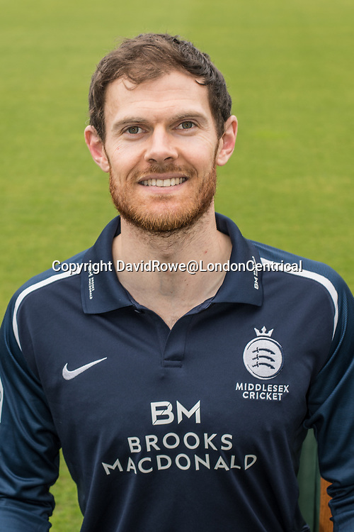 11 April 2018, London, UK.  James Harris of Middlesex County Cricket Club in the   blue Royal London one-day kit . David Rowe/ Alamy Live News