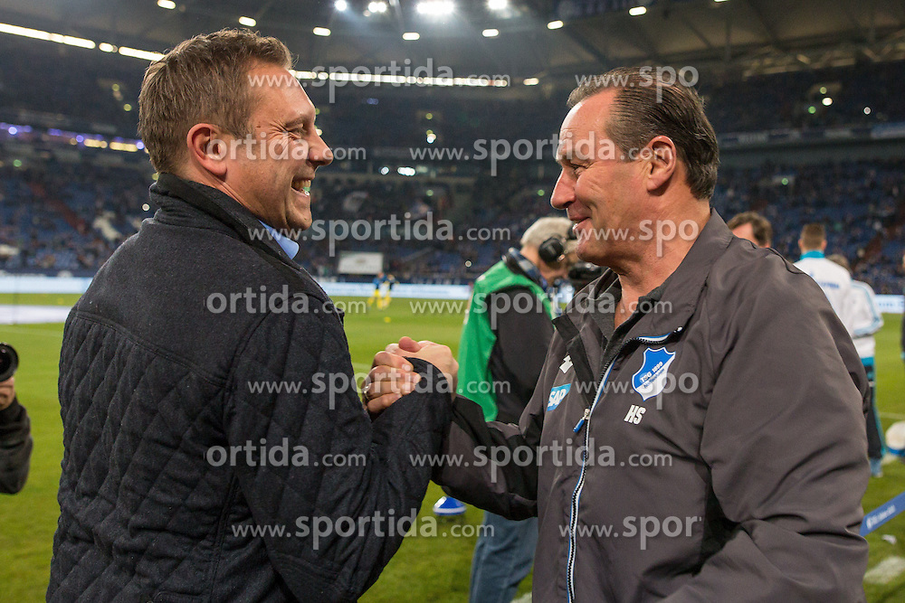 18.12.2015, Veltins Arena, Gelsenkirchen, GER, 1. FBL, Schalke 04 vs TSG 1899 Hoffenheim, 17. Runde, im Bild Trainer Huub Stevens (TSG 1899 Hoffenheim) und Trainer Andre Breitenreiter (FC Schalke 04) // during the German Bundesliga 17th round match between Schalke 04 and TSG 1899 Hoffenheim at the Veltins Arena in Gelsenkirchen, Germany on 2015/12/18. EXPA Pictures &copy; 2015, PhotoCredit: EXPA/ Eibner-Pressefoto/ Schueler<br /> <br /> *****ATTENTION - OUT of GER*****