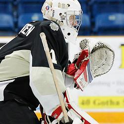 TRENTON, ON - NOV 10:  Chris Janzen #1 of the Trenton Golden Hawks during the OJHL regular season game between the  Buffalo Jr Sabres and Trenton Golden Hawks on November 10, 2016 in Trenton, Ontario. (Photo by Amy Deroche/OJHL Images)