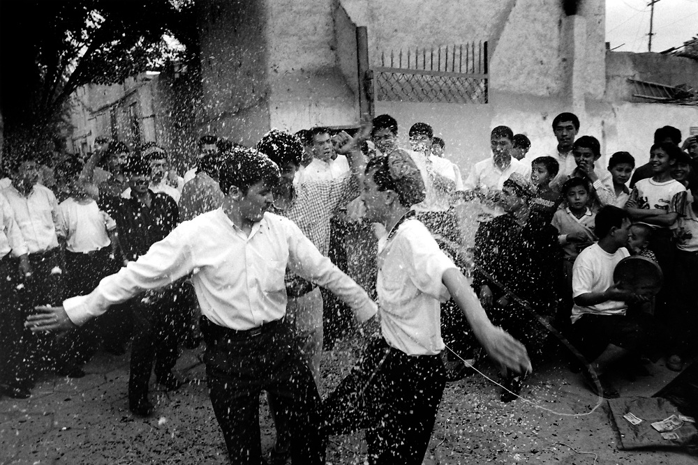 Xinjiiang Uygur Autonomous region. Kashgar. Confetti is thrown in celebration at a traditional Uygur wedding in 2000.