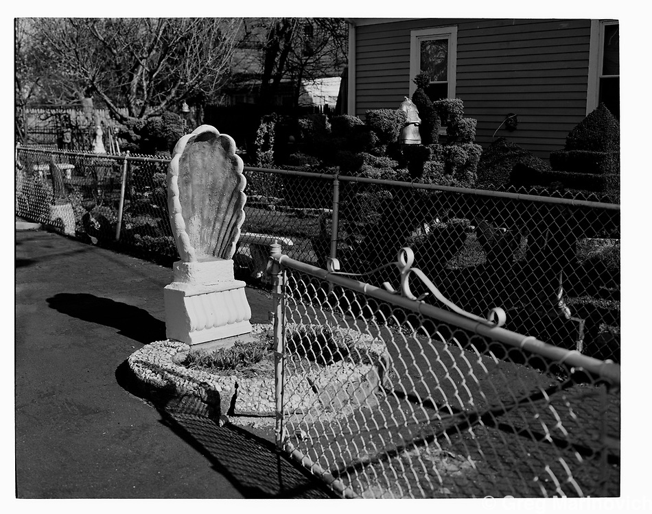 Somerville, MA, Madonna shell and dog park with headless statue after storm. Greg Marinovich 2016.