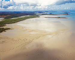 A low spring tide exposes extensive mud flats in Collier Bay looking south towards Secure Bay on the Kimberley coast.