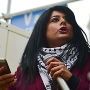 London, UK. 17 March 2018. Maz Saleem of Stop the War join March Against Racism highlight Islamophobia , Grenfell , migrants & refugees, anti-Semitism & the far right, black deaths in police custody, Stop the War and Care4Calais on UN Anti Racism Day to Downing Street, London, UK