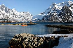 NORWAY LOFOTEN 28MAR07 - Fishing boat near the town of Vestpollen in the Austnesfjorden on the Lofoten islands...jre/Photo by Jiri Rezac..© Jiri Rezac 2007..Contact: +44 (0) 7050 110 417.Mobile:  +44 (0) 7801 337 683.Office:  +44 (0) 20 8968 9635..Email:   jiri@jirirezac.com.Web:    www.jirirezac.com..© All images Jiri Rezac 2007 - All rights reserved.
