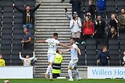 Milton Keynes Dons forward Rhys Healey (10) scores a goal and celebrates  with Milton Keynes Dons defender Callum Brittain (25) 1-0 during the EFL Sky Bet League 1 match between Milton Keynes Dons and Shrewsbury Town at stadium:mk, Milton Keynes, England on 10 August 2019.