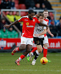 Anthony Grant of Crewe Alexandra is challenged by Luke Freeman of Bristol City - Photo mandatory by-line: Rogan Thomson/JMP - 07966 386802 - 20/12/2014 - SPORT - FOOTBALL - Crewe, England - Alexandra Stadium - Crewe Alexandra v Bristol City - Sky Bet League 1.