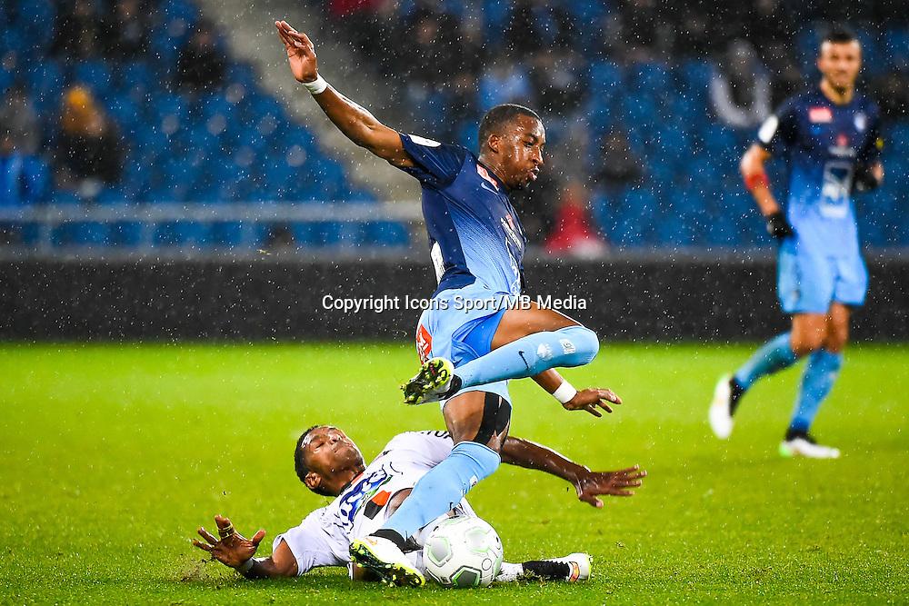 Hassane ALLA / Moussa SAO  - 12.12.2014 - Le Havre / Laval - 17eme journee de Ligue 2 <br /> Photo : Fred Porcu / Icon Sport
