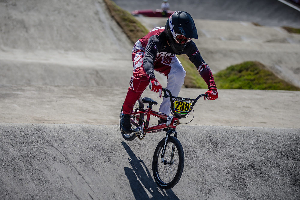 16 Boys #238 (RITINS Ronalds) LAT at the 2018 UCI BMX World Championships in Baku, Azerbaijan.