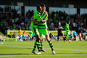 Kieffer Moore (14) of Forset Green Rovers celebrates scoring a goal to make the score 1-0 with Ethan Pinnock (16) of Forset Green Rovers during the Vanarama National League match between Forest Green Rovers and Southport at the New Lawn, Forest Green, United Kingdom on 29 August 2016. Photo by Graham Hunt.