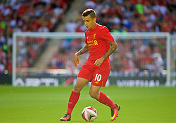 LONDON, ENGLAND - Saturday, August 6, 2016: Liverpool's Philippe Coutinho Correia in action against Barcelona during the International Champions Cup match at Wembley Stadium. (Pic by Xiaoxuan Lin/Propaganda)