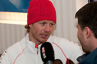 Olympic Athletes for the Swiss team are interviewed by media at the House of Switzerland in Whistler, BC Canada
