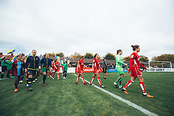 Hayley Ladd of Bristol City Women leads out her team ahead of kickoff - Rogan Thomson/JMP - 06/11/2016 - FOOTBALL - The Northcourt Stadium - Abingdon-on-Thames, England - Oxford United Women v Bristol City Women - FA Women's Super League 2.