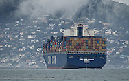 San francisco Bar Pilot, Dave McCloy, Pilots the CMA CGM IVANHOE on its departure from the Port of Oakland