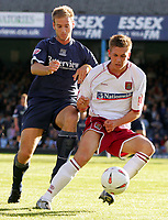 Fotball<br /> England 2004/2005<br /> Foto: SBI/Digitalsport<br /> NORWAY ONLY<br /> <br /> Southend United v Northampton Town. The Coca-Cola League two play-off semi final 2nd leg. Roots Hall.<br /> 21/05/05<br /> Southend's Lawrie Dudfield against Northampton's Luke Chambers