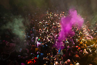 Holi Festival celebration (Festival of Colors) inside the Banke Bihari Temple, Vrindavan, near Mathura, Uttar Pradesh, India.