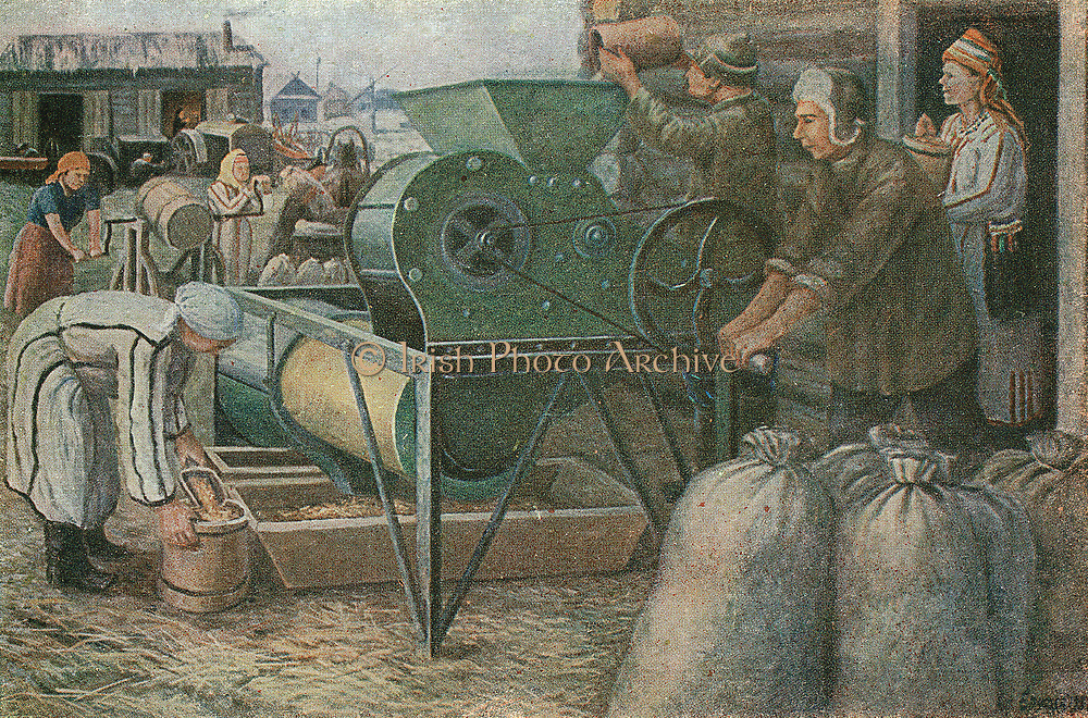 The Fight for the Harvest: Sorting of Seeds in a Mordva Collective Farm. 1933 Russian postcard after painting by Jeroushew.
