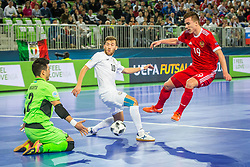 Ivan Chiskala of Russia and Chingiz Yessenamanov of Kazakhstan during futsal match between Russia and Kazakhstan in Third place match of UEFA Futsal EURO 2018, on February 10, 2018 in Arena Stozice, Ljubljana, Slovenia. Photo by Ziga Zupan / Sportida