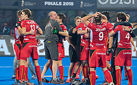 BHUBANESWAR, INDIA -  Vreugde bij de Belgen na  de  finale tussen België en Nederland (0-0) , Belgie wint shoot-outs, bij het WK Hockey heren in het Kalinga Stadion. midden assistent-coach Michel van den Heuvel (Belgie) . COPYRIGHT KOEN SUYK