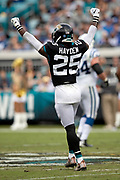 Jacksonville Jaguars defensive back D.J. Hayden (25) waves his arms in celebration during the NFL week 13 regular season football game against the Indianapolis Colts on Sunday, Dec. 2, 2018 in Jacksonville, Fla. The Jaguars won the game in a 6-0 shutout. (©Paul Anthony Spinelli)