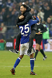 GELSENKIRCHEN, Dec. 20, 2017  Domenico Tedesco (Top), head coach of Schalke 04, celebrates with Amine Harit after winning the German DFB Pokal match between Schalke 04 and FC Koln at the Veltins Arena in Gelsenkirchen, Germany, on Dec. 19, 2017. (Credit Image: © Joachim Bywaletz/Xinhua via ZUMA Wire)