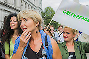"People's Climate march, London – As part of an international day of protest - led by Emma Thompson and Vivienne Westwood - people march to demand: ""a world with an economy that works for people and the planet; a world safe from the ravages of climate change; and a world with good jobs, clean air, and healthy communities for everyone.  The march started in Temple Place and ended outside Parliament – Westminster, London, UK,  21st Sept  2014. Guy Bell, 07771 786236, guy@gbphotos.com"