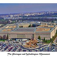 Aerial view of Washington Monuments, national landmarks. <br /> The Pentagon and Washington Monument
