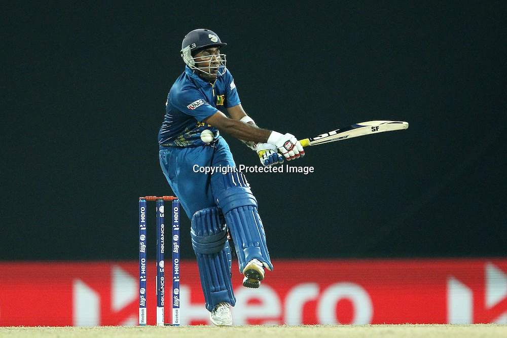 Mahela Jayawardene mis-times a delivery from Stuart Broad (Captain) of England  during the ICC World Twenty20 Super Eights match between England and Sri Lanka held at the  Pallekele Stadium in Kandy, Sri Lanka on the 1st October 2012<br /> <br /> Photo by Ron Gaunt/SPORTZPICS