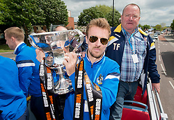 Bristol Rovers' Chris Lines with the Vanarama Conference Play-Off final trophy - Photo mandatory by-line: Dougie Allward/JMP - Mobile: 07966 386802 - 25/05/2015 - SPORT - Football - Bristol - Bristol Rovers Bus Tour