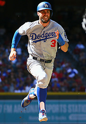 May 3, 2018 - Phoenix, AZ, U.S. - PHOENIX, AZ - MAY 03: Los Angeles Dodgers center fielder Chris Taylor (3) runs home during the MLB baseball game between the Arizona Diamondbacks and the Los Angeles Dodgers on May 3, 2018 at Chase Field in Phoenix, AZ (Photo by Adam Bow/Icon Sportswire) (Credit Image: © Adam Bow/Icon SMI via ZUMA Press)