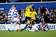 Queens Park Rangers defender Nedum Onuoha (5) tackling Burton Albion midfielder Luke Murphy (30) during the EFL Sky Bet Championship match between Queens Park Rangers and Burton Albion at the Loftus Road Stadium, London, England on 28 January 2017. Photo by Matthew Redman.