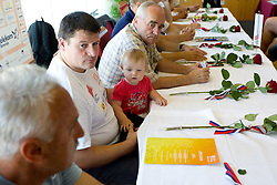 Andrej Hajnsek, daughter Nina, Martin Steiner at press conference of team Slovenia at arrival at the end of European Athletics Championships Barcelona 2010 to Slovenia, on August 2, 2010 at Airport Joze Pucnik, Brnik, Slovenia. (Photo by Vid Ponikvar / Sportida)