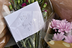 © Licensed to London News Pictures. 29/01/2018. London, UK.  Floral tributes and condolence messages have been laid out at the site of a car crash where three teenage boys were killed in Hayes, west London, on the night of 27 January.  Jaynesh Chudasama, 28, of Hayes has been charged with three counts of causing death by dangerous driving and will appear in custody at Uxbridge Magistrates Court on Monday 29 January.  Photo credit: Stephen Chung/LNP
