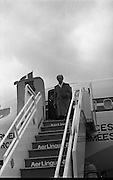 Canadian Prime Minister, Pierre Trudeau arrives in Dublin    (J17).14.03.1975.03.14.1975.3rd April 1975..Pierre Trudeau arrived today for a brief visit to Ireland. He was greeted by the Taoiseach Mr. Liam Cosgrave on his arrival at Dublin Airport..Image of Canadain Prime Minister Pierre Trudeau as he descends from his aircraft at the start of his short visit to Ireland.