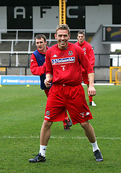 SWANSEA, WALES - TUESDAY MARCH 22nd 2005: Wales' Craig Bellamy during training at Swansea City's Vetch Field Stadium. (Pic by David Rawcliffe/Propaganda)