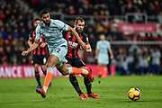 Chelsea Midfielder, Ruben Loftus-Cheek (12) and AFC Bournemouth Defender, Steve Cook (3) during the Premier League match between Bournemouth and Chelsea at the Vitality Stadium, Bournemouth, England on 30 January 2019.