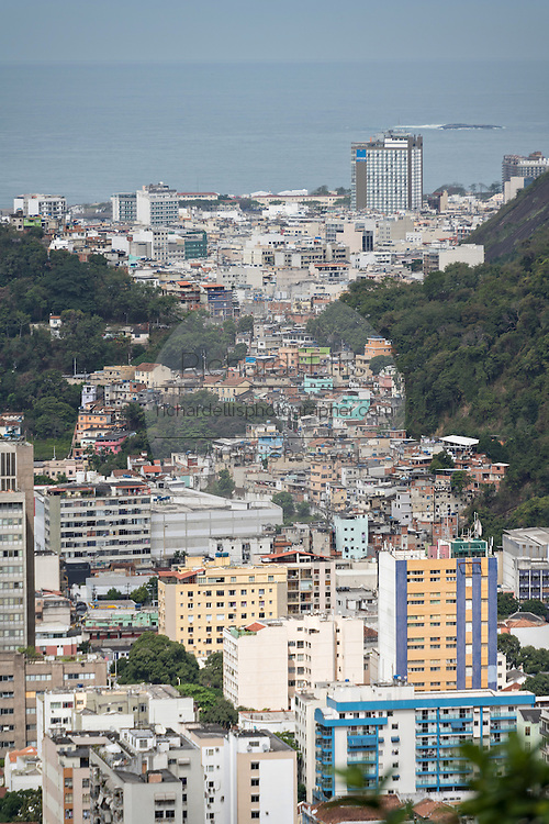 The Flamengo neighborhood looking toward Copacabana seen from the hillside in the Favela Santa Marta in Rio de Janeiro, Brazil.