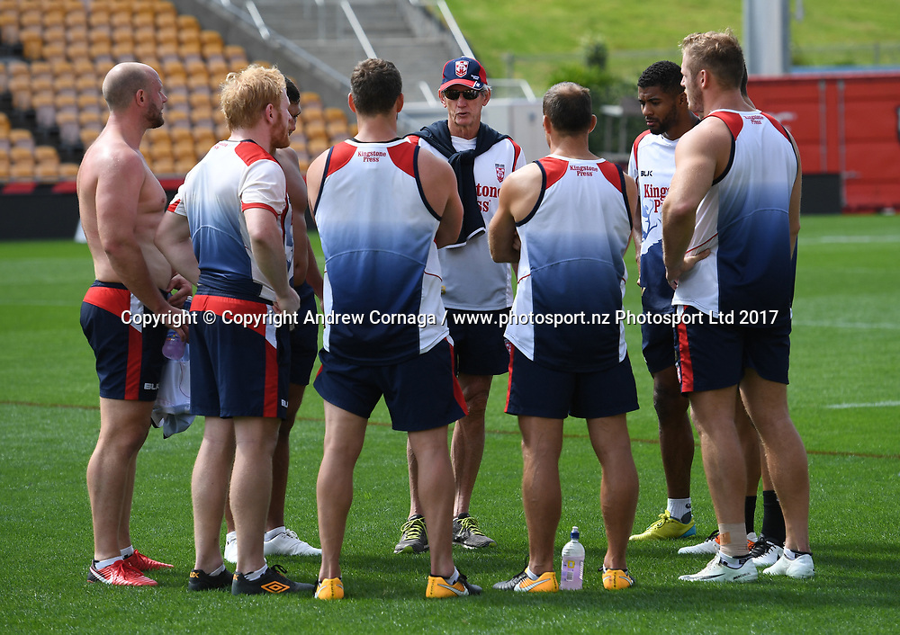 England coach Wayne Bennett talks to his players.<br /> England Rugby League captain's run and training at Mt Smart Stadium, Auckland, New Zealand. Friday 24 November 2017 ahead of the Rugby League World Cup semi-final against Tonga tomorrow. &copy; Copyright Photo: Andrew Cornaga / www.photosport.nz
