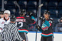 KELOWNA, CANADA - SEPTEMBER 5: Erik Gardiner #12 and Leif Mattson #28 of the Kelowna Rockets celebrate a goal against the Kamloops Blazers on September 5, 2017 at Prospera Place in Kelowna, British Columbia, Canada.  (Photo by Marissa Baecker/Shoot the Breeze)  *** Local Caption ***