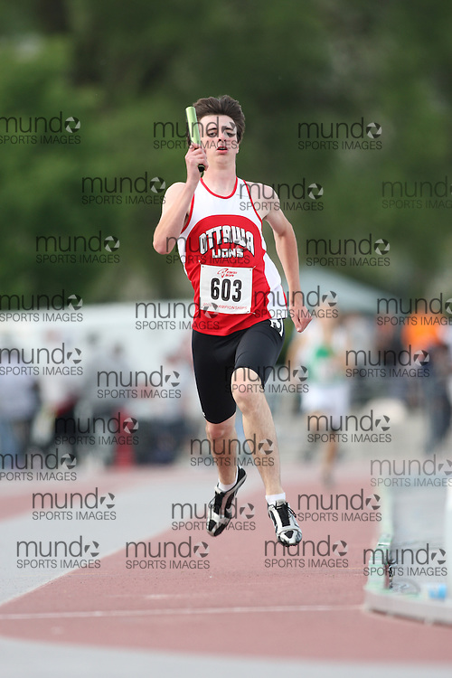 (London, Ontario---13/06/09)   Codie Primeau of Ottawa Lions T.F.C. competes in the  4x400m relay at the 2009 Athletics Ontario Junior Track and Field Championships. The meet was held in London, Ontario from June 13-14, 2009. Copyright photograph Sean Burges / Mundo Sport Images, 2009. www.mundosportimages.com / www.msievents.