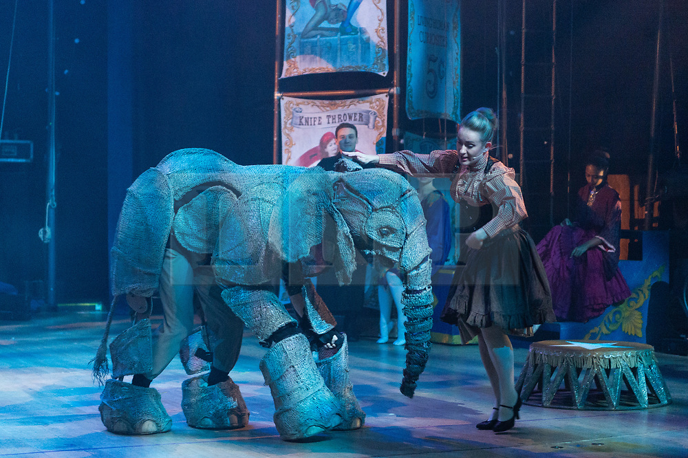 © Licensed to London News Pictures. 19/12/2018. London, UK.  Performers take part in the Circus 1903 theatre production photocall  The show features larger-than-life puppet elephants alongside a huge cast of circus acts from the golden age of circus. Photo credit: Ray Tang/LNP