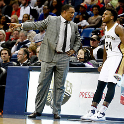 Dec 8, 2016; New Orleans, LA, USA;  New Orleans Pelicans head coach Alvin Gentry talks with guard Buddy Hield (24)during the second half of a game against the Philadelphia 76ers at the Smoothie King Center.  The 76ers defeated the Pelicans 99-88. Mandatory Credit: Derick E. Hingle-USA TODAY Sports