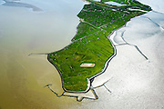 Nederland, Groningen, Reider Buitenland, 05-08-2014; Punt van Reide, schiereiland in zeearm de Dollard, onderdeel van de monding van de Eems. In het verleden liep kustlijn hier door naar Duitsland. <br /> Point of Reide, peninsula in the mouth of the Dollard, part of the Ems). In the past the coastline continued from here to Germany.<br /> luchtfoto (toeslag op standard tarieven);<br /> aerial photo (additional fee required);<br /> copyright foto/photo Siebe Swart